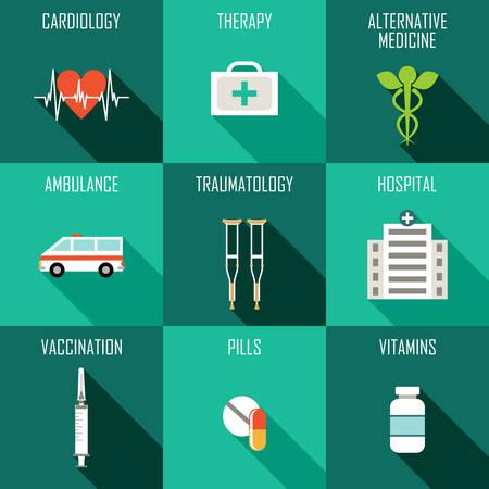 medicine icons: Medicine icons set. Laboratory diagnostics. Vector illustration Illustration
