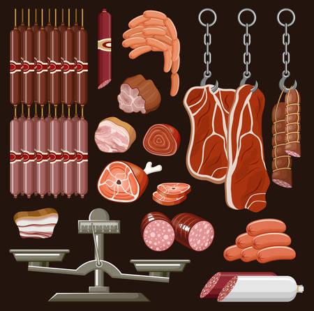 veal sausage: Set of meat products. Sausage, ham, pork. Vector illustration Illustration
