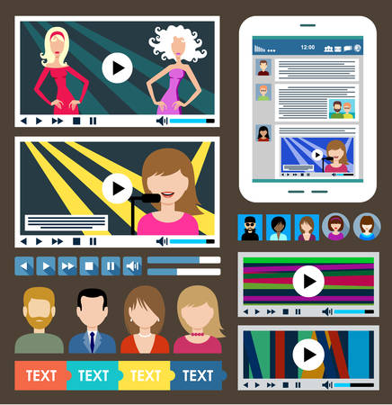 multimedia icon: Set of multimedia icons. Videoplayer. Flat icon. Vector illustration