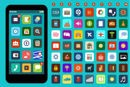 telecommunication: Smartphone with colorful application icons. Smartphone and icons - original design. Flat icon. Vector illustration