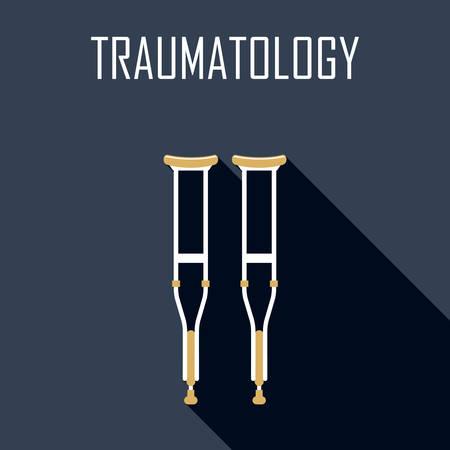 trauma: Traumatology. Crutches. Flat icon. Vector illustration