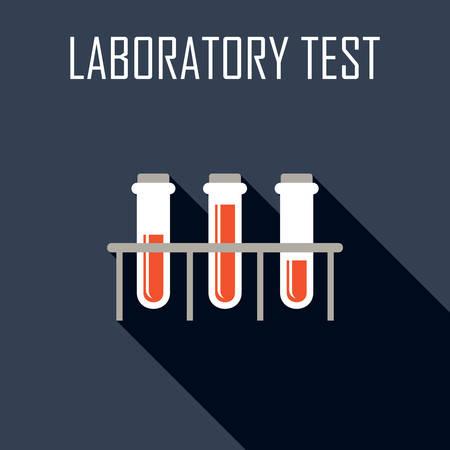 a substance vial: Laboratory test. Flat icon. Vector illustration Illustration