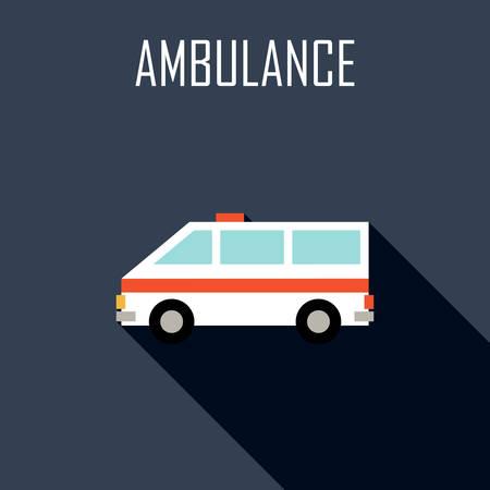 ambulancia: Ambulancia. icono plana. ilustración vectorial