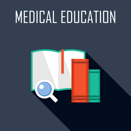 medical student: Medical education. Flat icon. Vector illustration