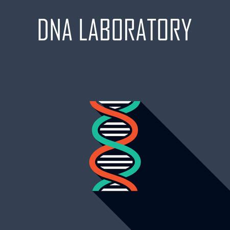 gene on a chromosome: DNA laboratory. Flat icon. Vector illustration
