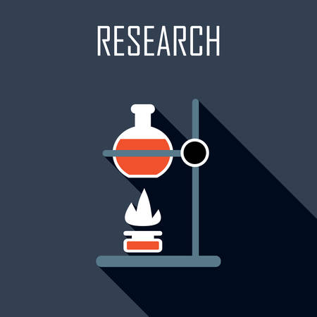 experimentation: Research. Flat icon. Vector illustration