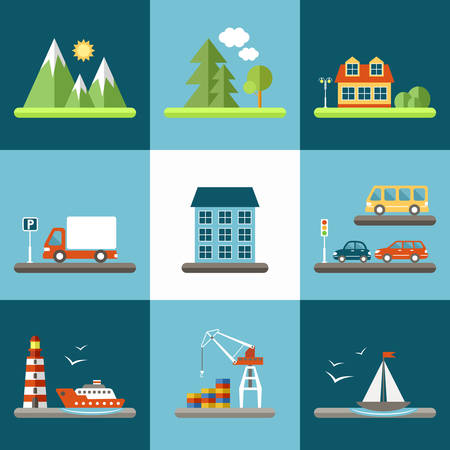 bus parking: City set with urban buildings, trees and cars.  Flat icon. Vector illustration