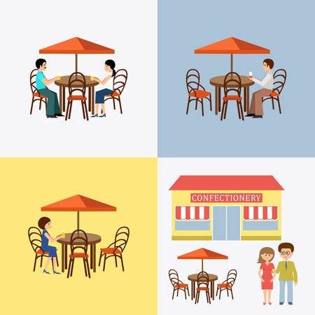 food restaurant: Set of people in cafe.  Flat icon. Vector illustration