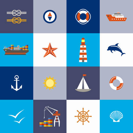 port: Sea subject. Port. Flat icon. Vector illustration Illustration