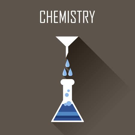 biology lab: Ñhemistry poster. Flat icon. Vector illustration Illustration