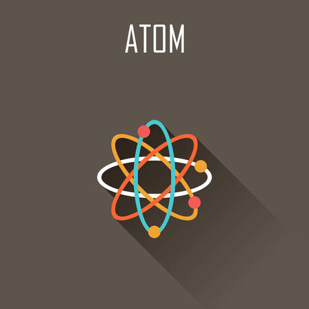 atomic symbol: Atom. Flat icon. Vector illustration
