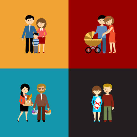 Flat set of family life. Vector illustration