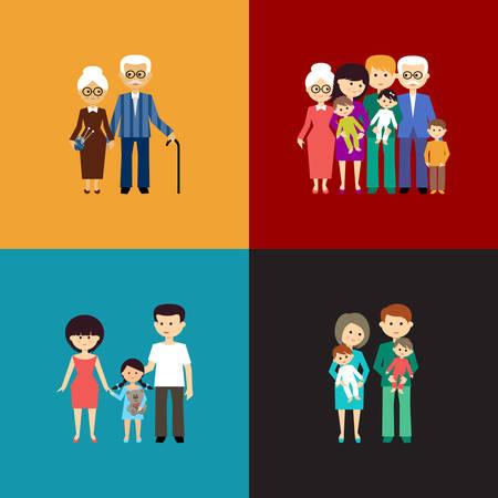 vejez feliz: Conjunto plano de la vida familiar. Ilustración vectorial