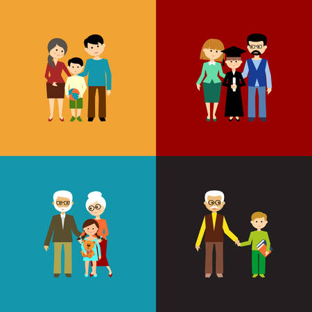 mom and son: Flat set of family life. Vector illustration