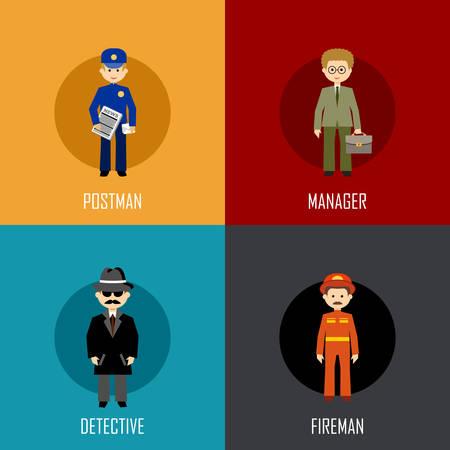 cartero: Profesión conjunto con cartero, gerente, detective y bombero. icono plana. ilustración vectorial