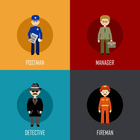 Fireman: Profession set with postman, manager, detective and fireman. Flat icon. Vector illustration