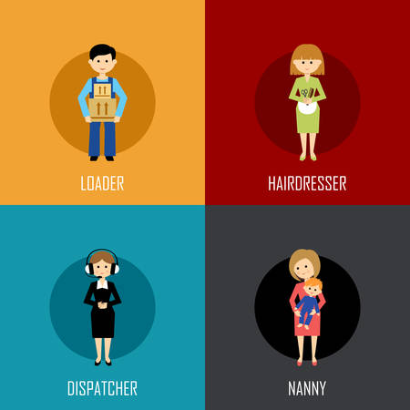 cartoon hairdresser: Profession set with loader, hairdresser, dispatcher and nanny. Flat icon. Vector illustration