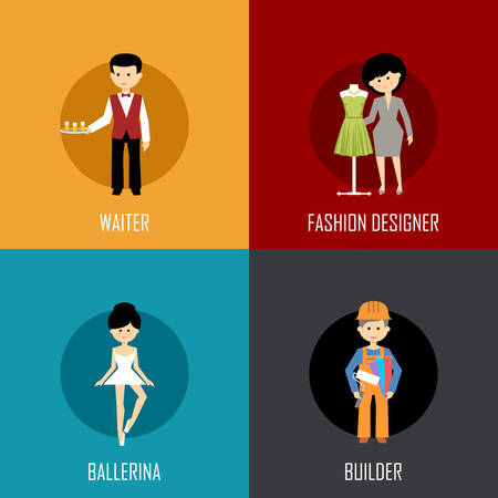 waiter: Profession set with waiter, fashion designer, ballerina and builder. Flat icon. Vector illustration