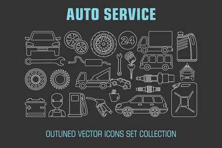 car engine: Outline set auto service icons. Vector illustration
