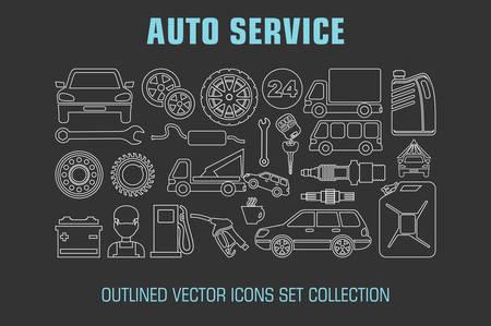 auto service: Outline set auto service icons. Vector illustration