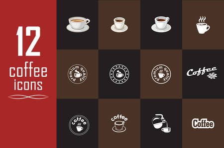 coffee bag: Set of coffee icons on the dark background. Vector illustration Illustration