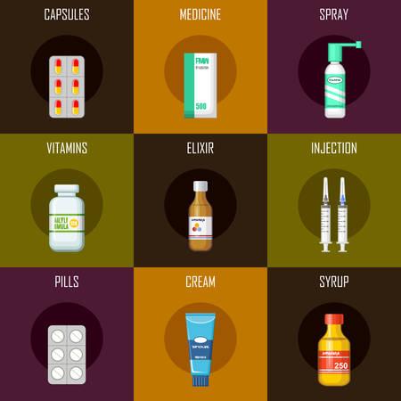 bottle of medicine: Set of medicines - tablets, syrup, syringe, capsules, cream. Flat icon. Vector illustration