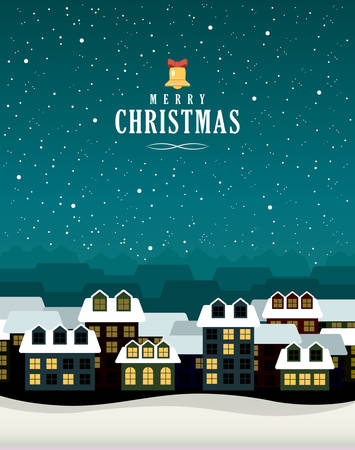 congratulatory: Vector Christmas card with the image of the night winter city and the congratulatory text Illustration