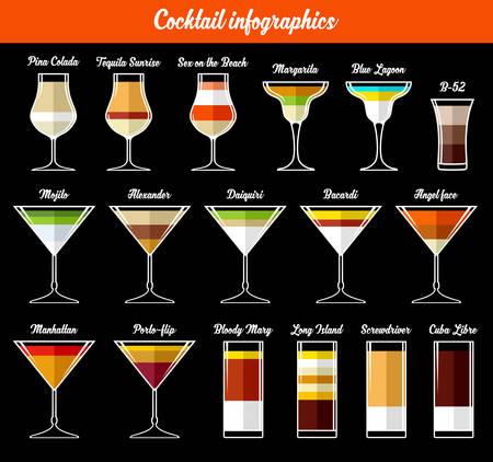 margarita cocktail: Infografía cóctel. Ingredientes. Ilustración vectorial Vectores