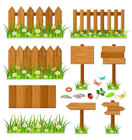 Wooden vector fence set with grass and flowers. White background. Isolated
