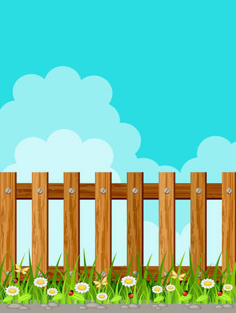 grassland: Wooden fence against the blue sky. Image of a grass, flowers and insects. vector Illustration