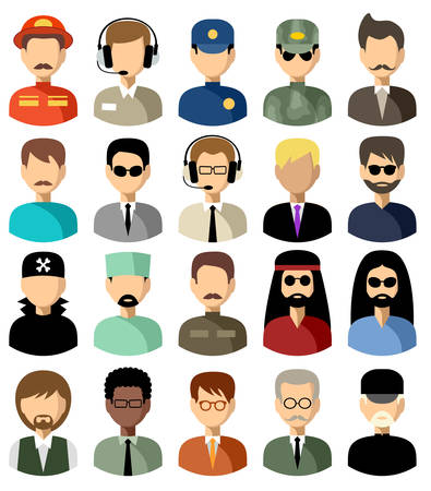 nationality: Twenty vector icons of men of a different nationality, with different hairdresses and in different clothes