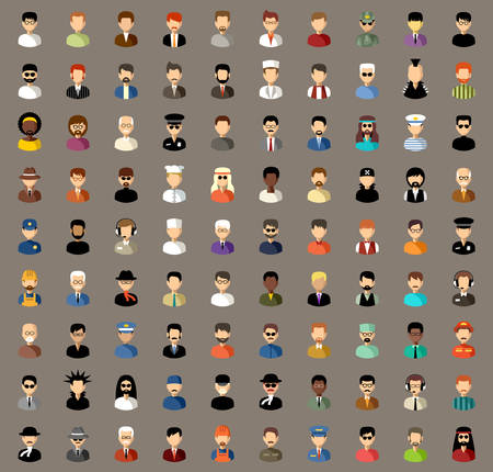 user icon: Vector avatars of men of different professions in different clothes