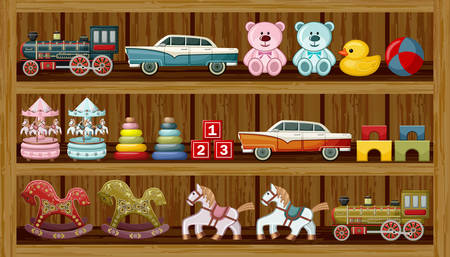 bear market: Wooden show-window of shop with vintage toys. Vector illustration