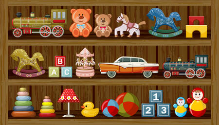 Wooden show-window of shop with vintage toys. Vector illustration