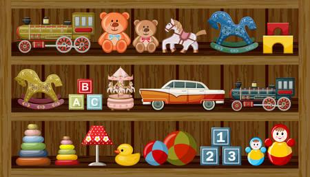 pato caricatura: Madera show-ventana de la tienda con juguetes antiguos. ilustración vectorial Vectores