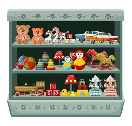 Madera show-ventana de la tienda con juguetes antiguos. ilustración vectorial