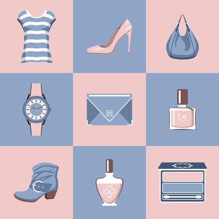 footwear: Fashion set in a style flat design. Clothes, footwear, cosmetics, accessories. vector illustration