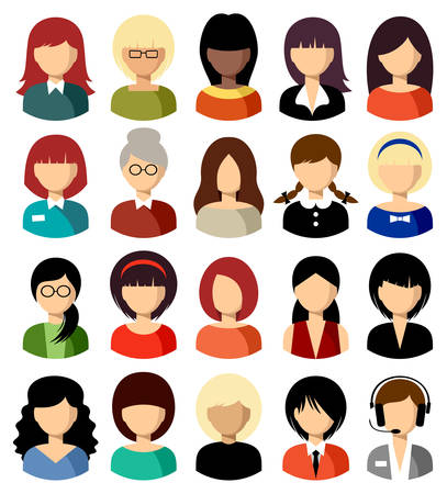 secretary: Twenty vector icons of women of a different nationality, with different hairdresses and in different clothes
