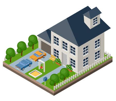 arquitecto caricatura: Vector aislado casa isomatic. Vida de campo. Garaje. Césped verde. Césped. Oscilación.