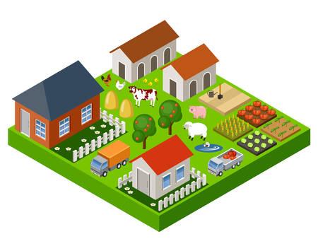 Vector farm bloków zabawka izometryczny zestaw. Odosobniony. budynki gospodarcze i transport