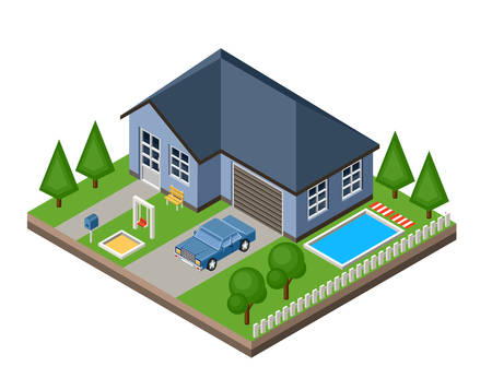 green grass: Isolated isomatic cottage. Country life. Garage. Green grass. Lawn. Swing. Vector illustration