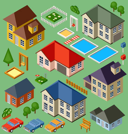 Geïsoleerde isomatic cottage. Plattelands leven. Garage. Groen gras. Gazon. Schommel. Vector illustratie