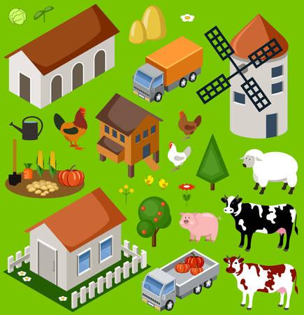 vector illustration  hen: Farm isometric set. Isolated. Map Elements. Vector illustration