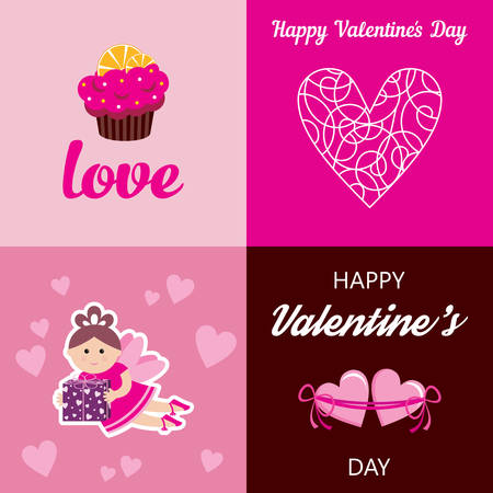 happy valentines: Vector illustrations of greeting cards by Valentines Day