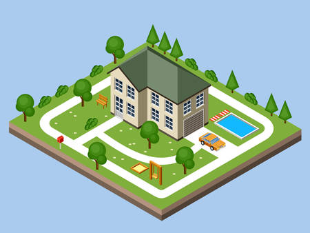 yards: Isolated isomatic cottage. Country life. Garage. Green grass. Lawn. Swing. Vector illustration