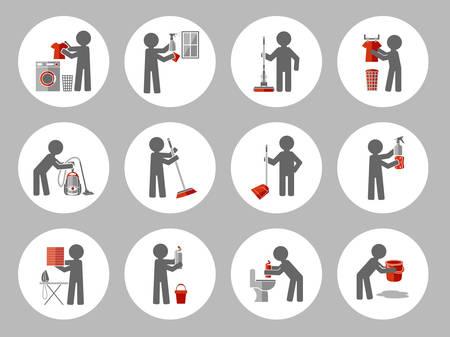 finestra: Set di icona di pulizia con la gente figura. illustrazione di vettore