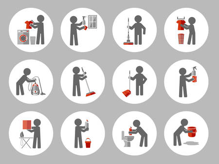 cleaning windows: Set of icon cleaning with figure people. Vector illustration