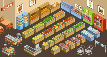 ilustracji wektorowych z supermarketu. Sprzedaż owoców, warzyw, mleka, mięsa i ryb. Kawiarnia. Kawa i sok.
