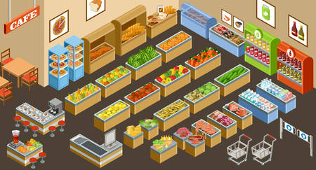 grocery store: Vector illustration of a supermarket. Sale of fruit, vegetables, milk, meat and fish. Cafe. Coffee and juice.