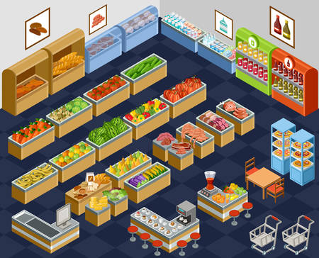 Vector illustration of a supermarket. Sale of fruit, vegetables, milk, meat and fish. Cafe. Coffee and juice.
